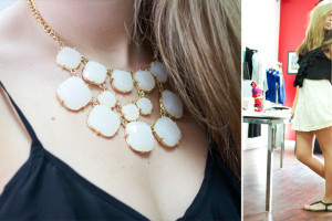 Tiana wears a statement necklace with a black ruffled cami and lace skirt, perfect for her many events at college.