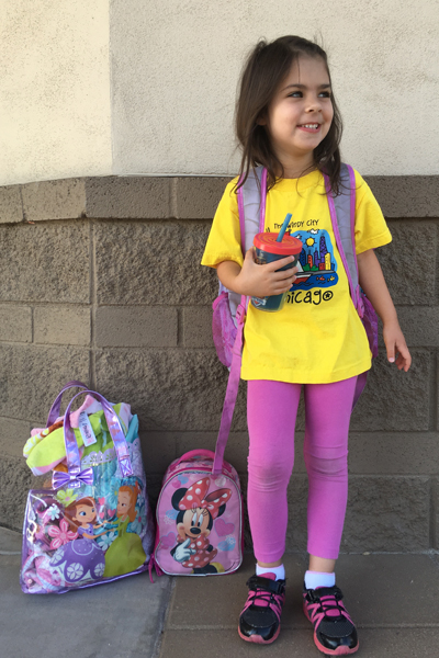 One morning this summer, I dropped my oldest off at school with breakfast (the smoothie in her hand), lunch (in her backpack) and dinner (in the Minnie Mouse lunchbox) plus a bag with all her swim gear for after school.