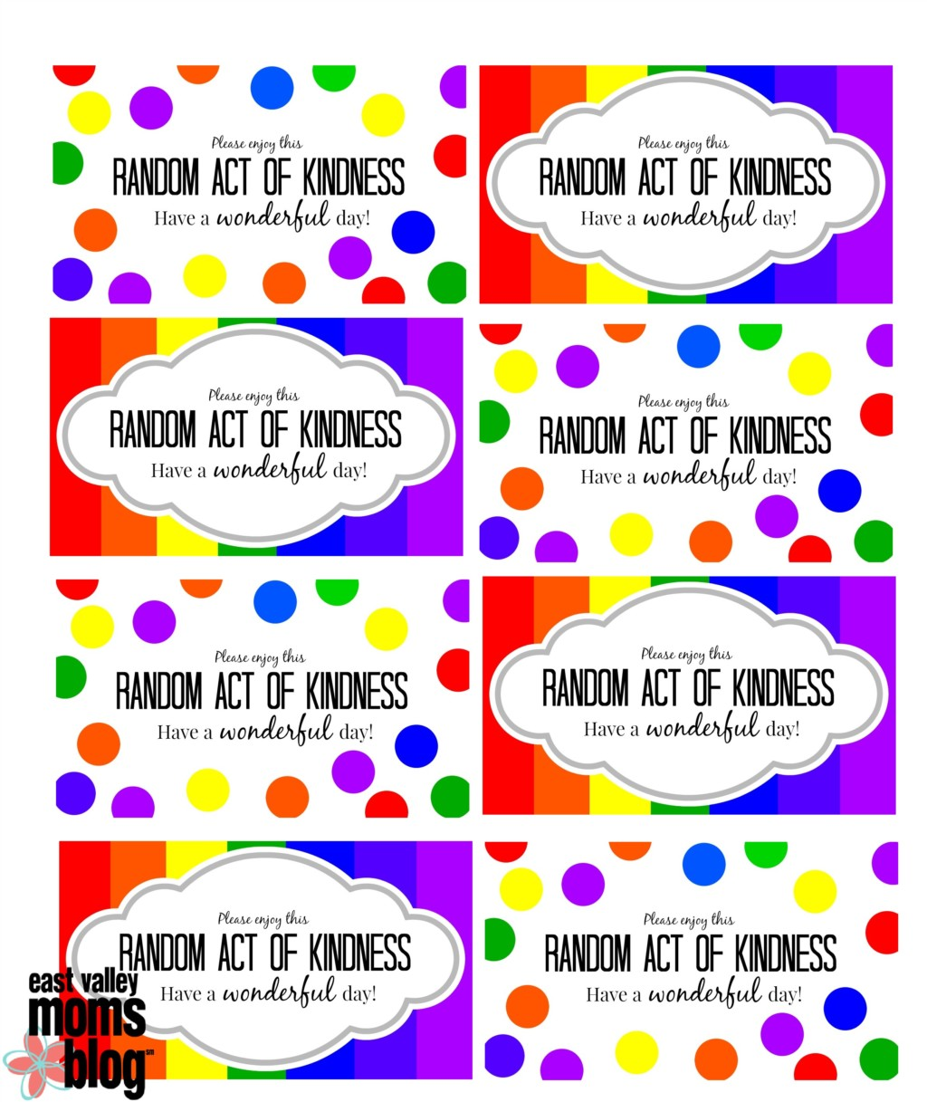 It's just a photo of Dynamite Random Acts of Kindness Cards Printable