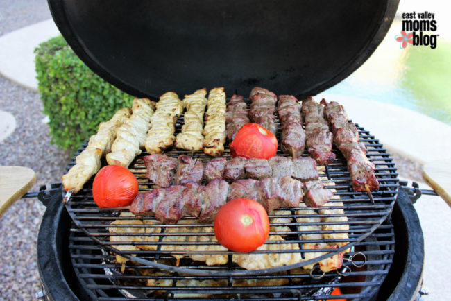 Chicken and Beef Kabobs grilled on indirect heat