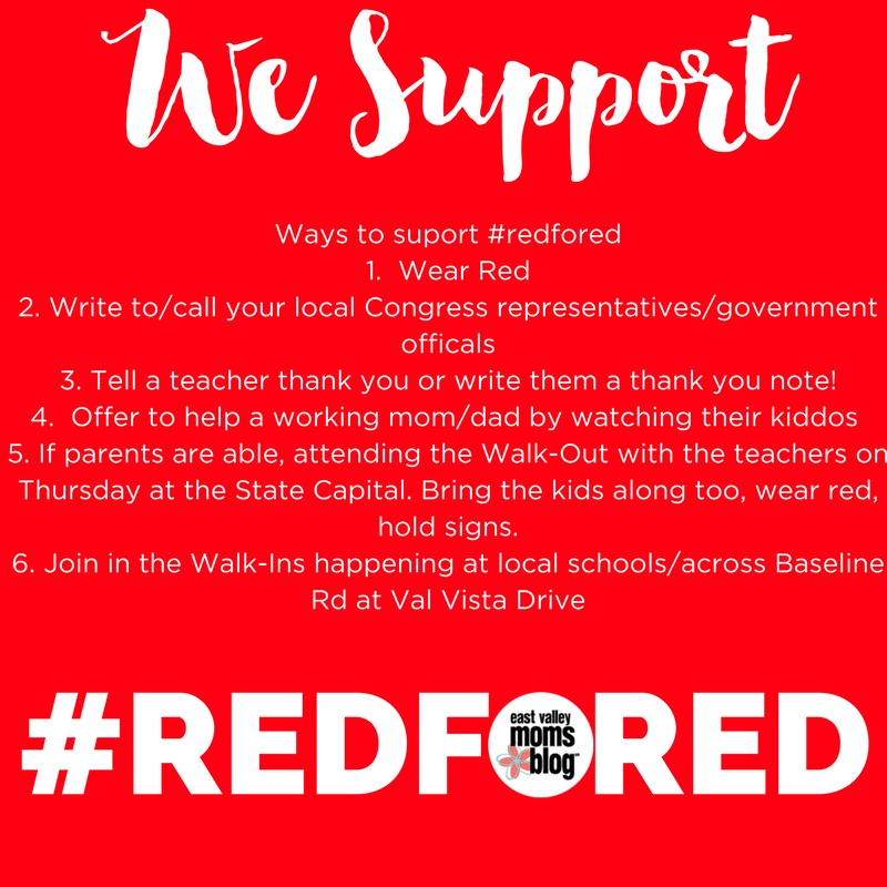 #RedForEd emergency childcare options | East Valley Moms Blog