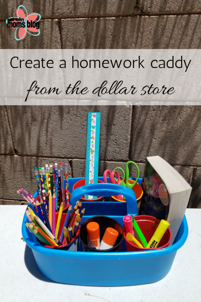 Homework caddy from the dollar store | East Valley Moms Blog