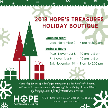 2018 Hope's Treasures Holiday Boutique