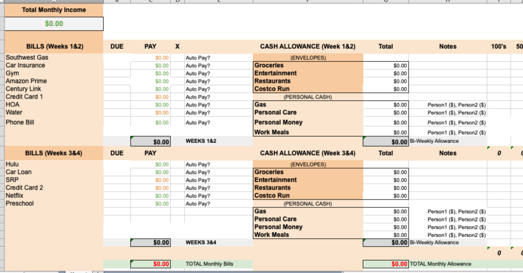 Example of a budget excel sheet for personal finances
